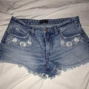 Distressed Abercrombie Embroidered Denim shorts